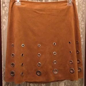 🔥CLEARANCE🔥Faux Suede Grommet Camel S Mini Skirt